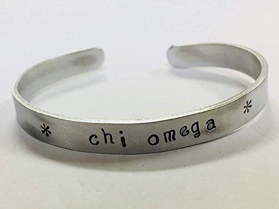 Chi Omega - Hand Stamped Cuff Bracelet