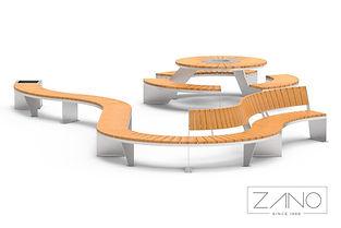 ZANO āra mēbeles. Āra soli. Āra galdi. Parka galdi. Galdi pilsētām. Piknika galdi. Modulārie soli. Moderns pilsētas dizains. Labiekārtošanas elementi. Mazās arhitektūras formas. Pilsētplānošana. Ielu mēbeles