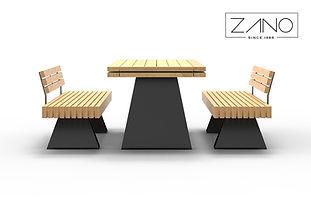 ZANO āra mēbeles. Āra soli. Āra galdi. Parka galdi. Galdi pilsētām. MOderns pilsētas dizains. Labiekārtošanas elementi. Mazās arhitektūras formas. Pilsētplānošana. Ielu mēbeles