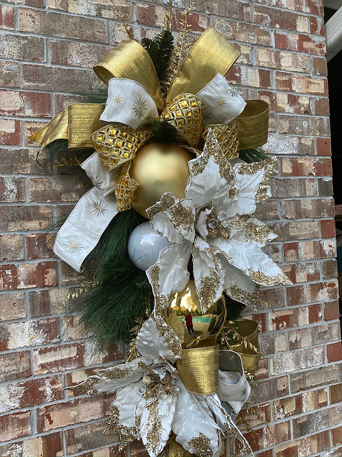 4. Traditional Christmas swag in gold and white