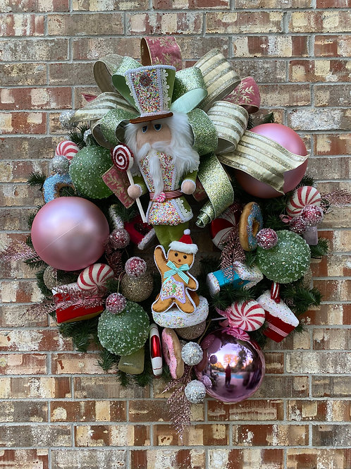1. Christmas Nutcracker candy theme wreath