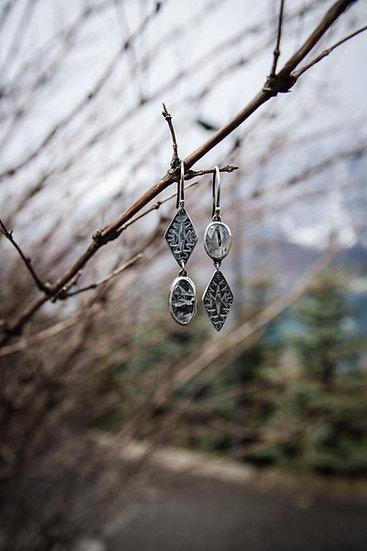 Asymmetric tourmalinated quartz earrings