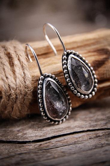 Lepidocrocite earrings (included quartz)