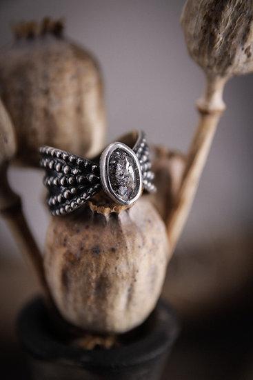 Size 9.25 • Beaded Goddess Ring with Herkimer Diamond