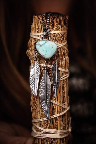 Royston turquoise feather necklace