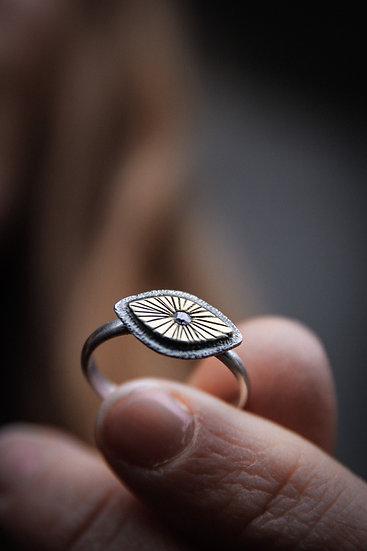 Size 7 • silver & brass eye ring with flushset swarovski