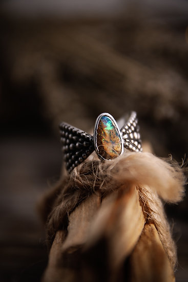 Size 6.5 • beaded goddess ring with boulder opal cabochon