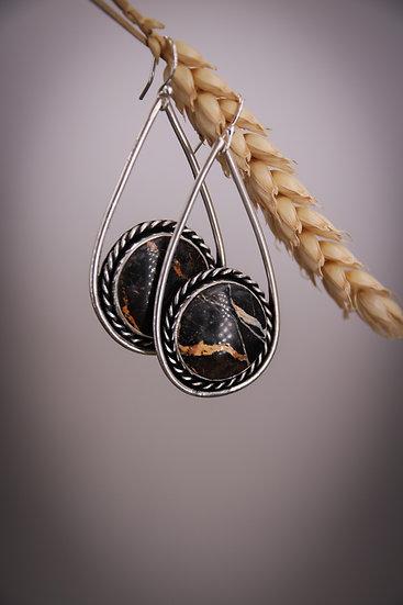 Iron buffalo earrings