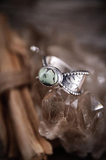 Size 11 • mayan goddess ring with poseidon variscite