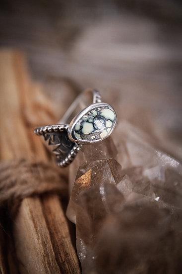 Size 7 • mayan goddess ring with poseidon variscite