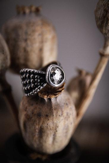 Size 4.5 • Beaded Goddess Ring with Herkimer Diamond
