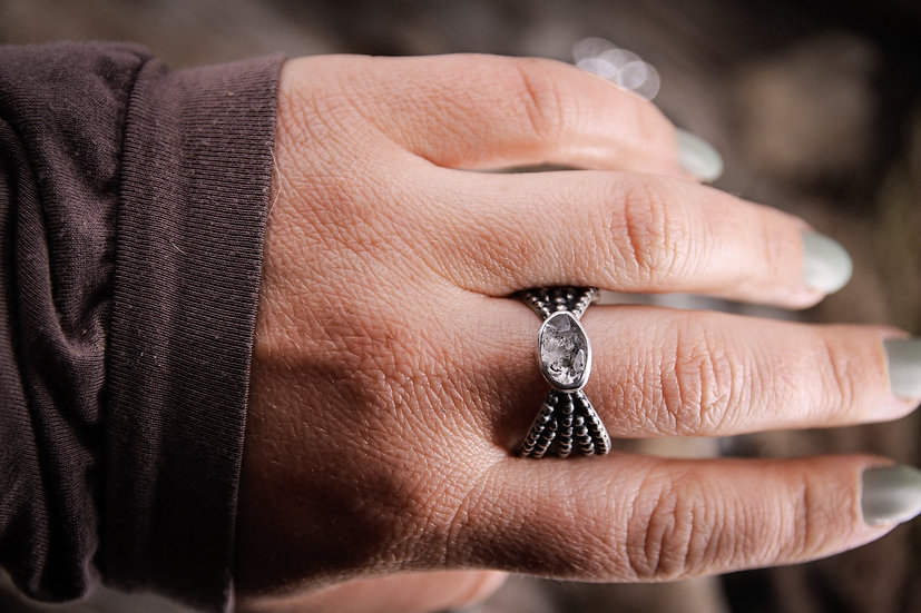 Size 12.5 • Beaded Goddess Ring with Herkimer Diamond
