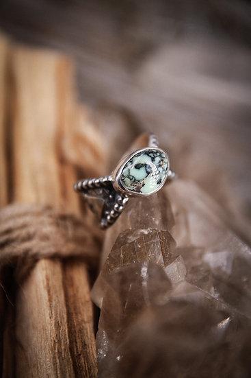 Size 5 • mayan goddess ring with poseidon variscite