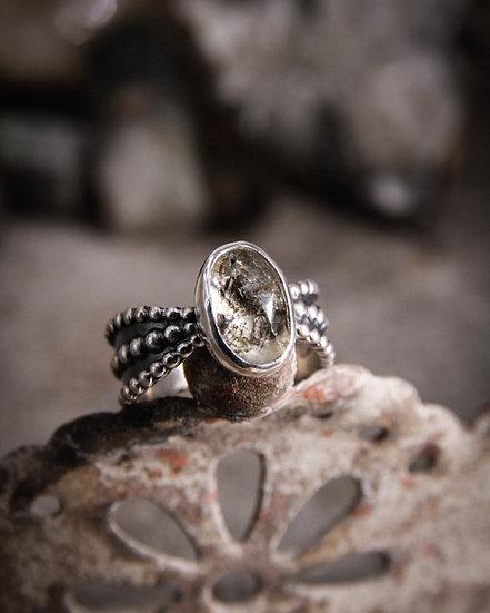 {RESERVED} Slim Beaded Goddess ring with Herkimer Diamond