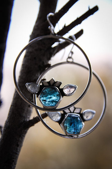Teal kyanite and moonstone hoop earrings