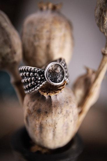 Size 7.5 • Beaded Goddess Ring with Herkimer Diamond