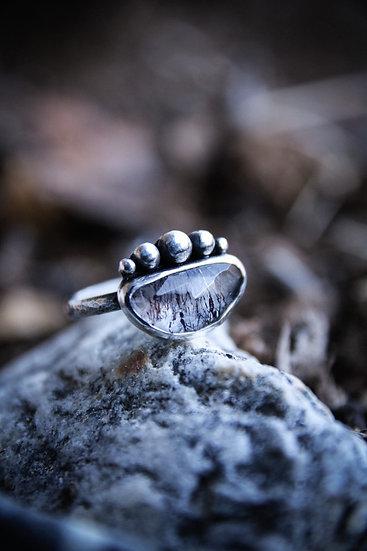 Size 7 • Rose cut lepidocrocite (included quartz) ring