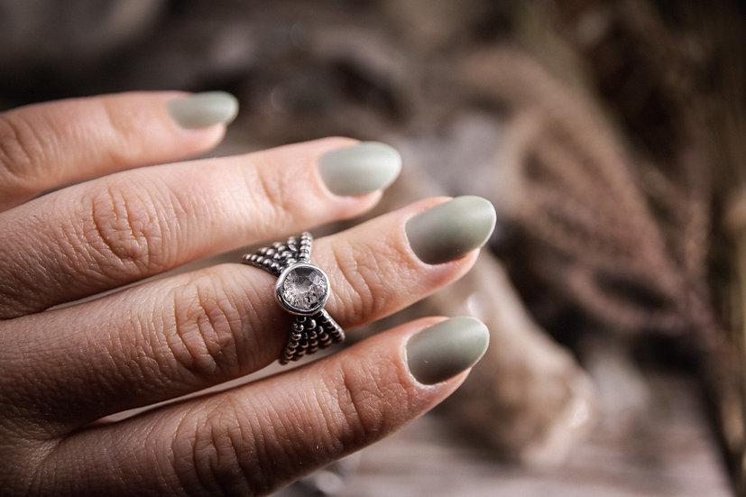 Size 5.5 • Beaded Goddess Ring with Herkimer Diamond