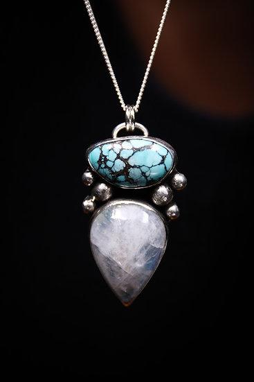 Turquoise & moonstone pendant