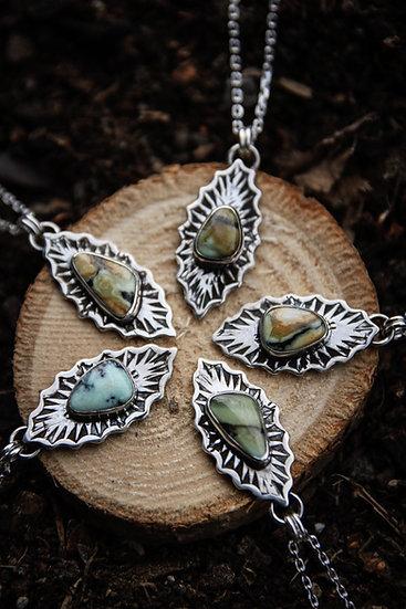 New Lander variscite stamped necklace