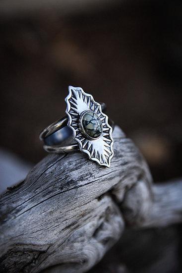 Size 9 • New lander variscite stamped silver ring