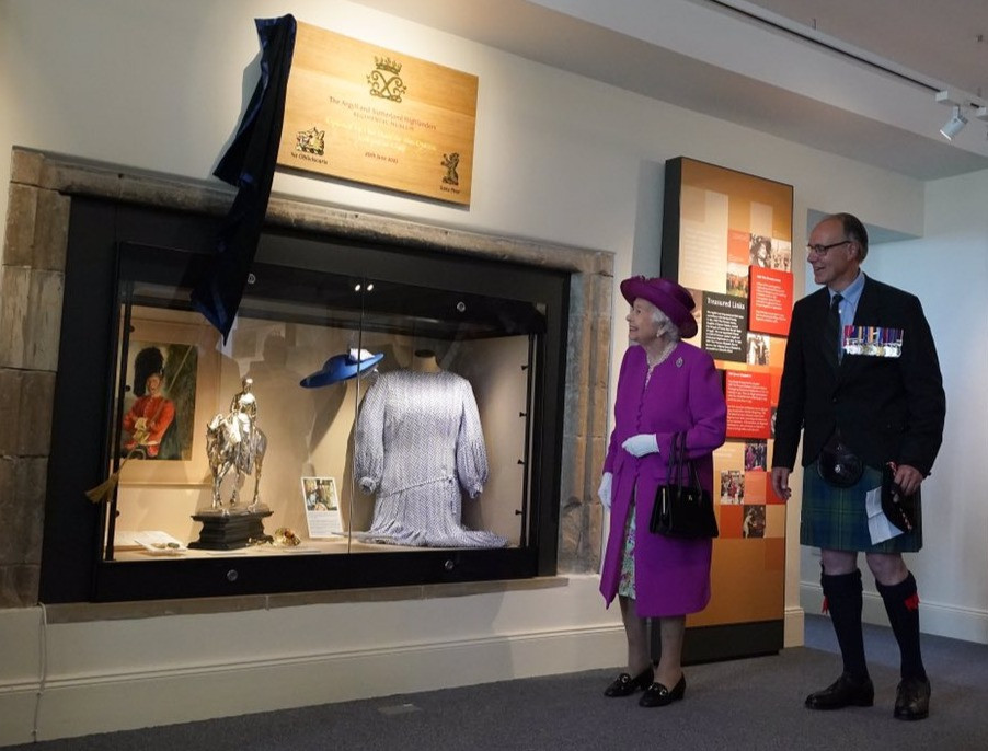 Her Majesty The Queen opening the Argyll and Sutherland Highlanders Museum at Stirling Castle