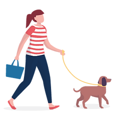 Illustration of a woman walking a dog