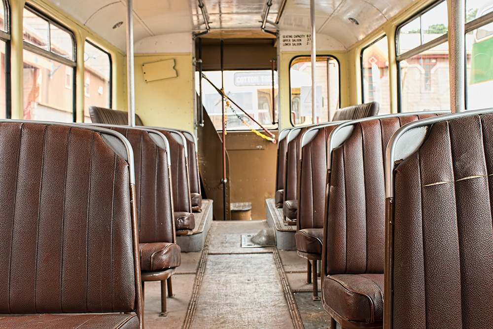 Bus interior with brown seats
