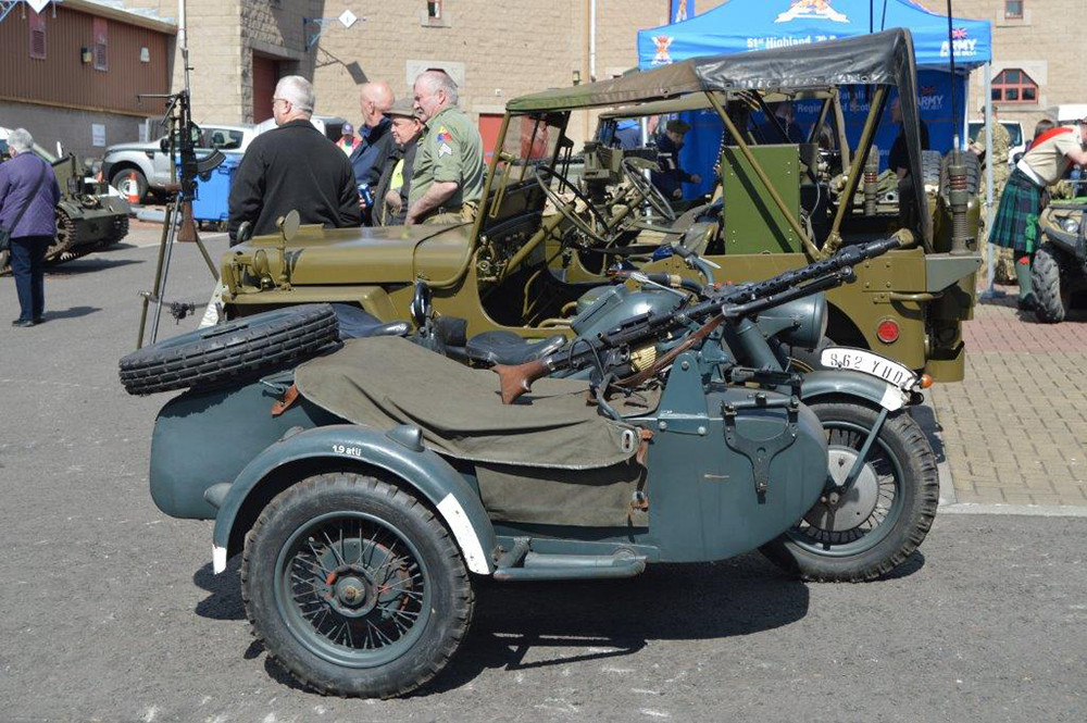 Military motorbike and sidecar