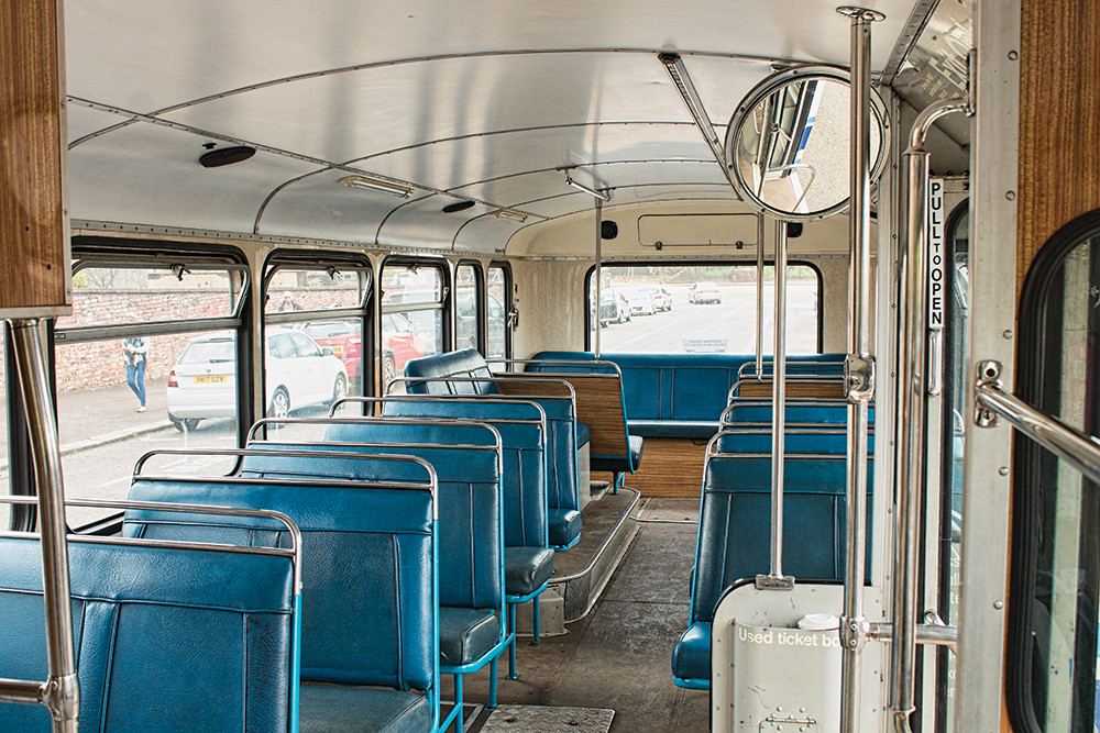 Bus interior with blue seats