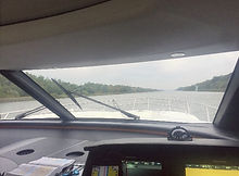 View from inside the cabin of a boat
