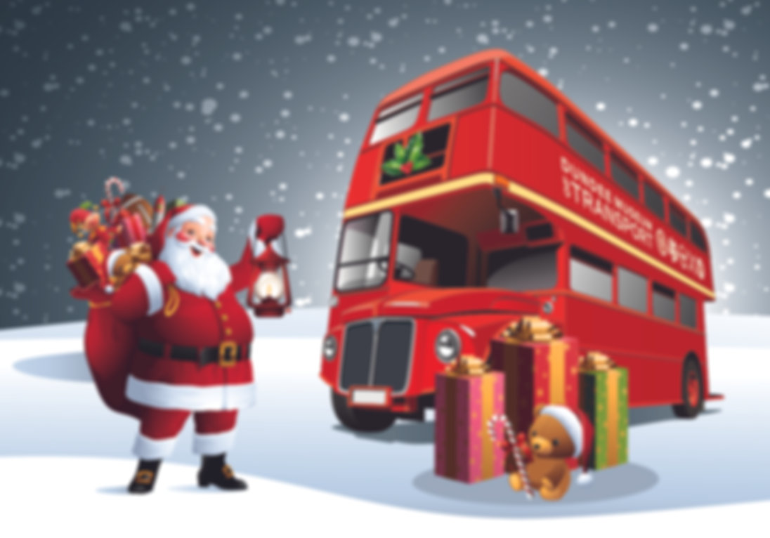 Santa with the red double decker bus