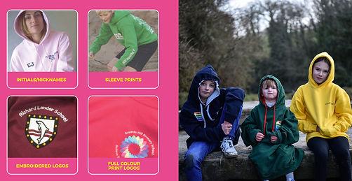 options for leavers hoodies, initial, nicknames, embroidered logos, sleeve prints, full colour print logos, plus three children modelling leavers hoodies
