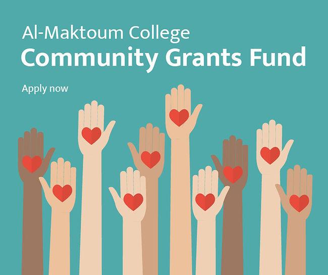 Facebook advert for Al Maktoum College Community Grant Fund
