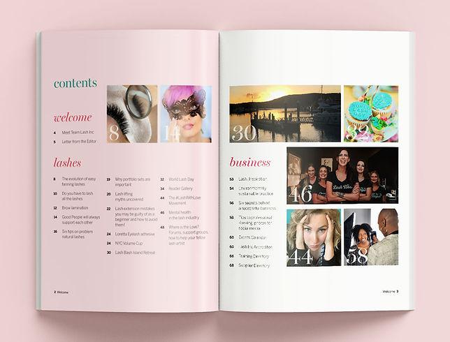 Lash Inc International magazine content page