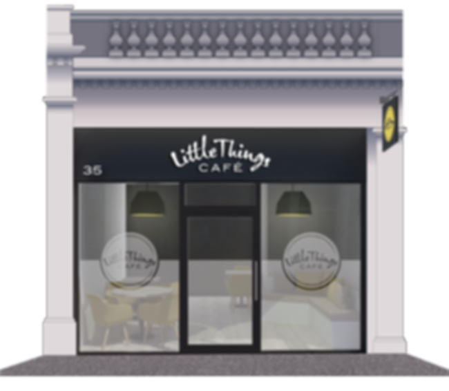 Graphc of Little Things Cafe shop front n Reform Street Dundee