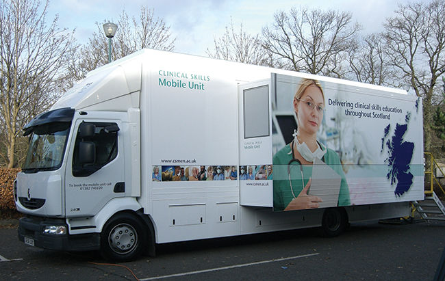 NHS Clinical Skills mobile unit at the launch event at Stirling University