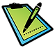 Icon of a clipboard and pen