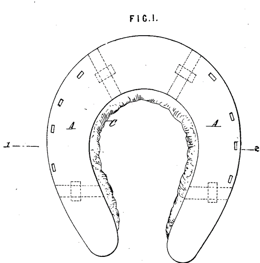 Vernon's patent for rubber and steel horseshoe
