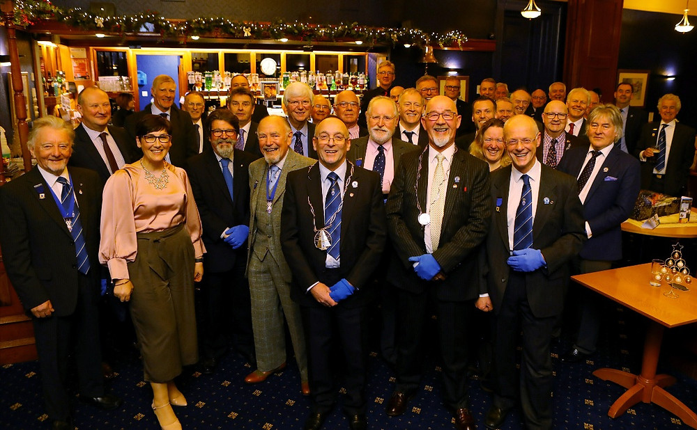 Members of the Dyers Trade with their distinctive blue gloves