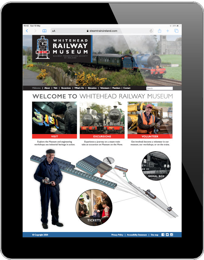 Whitehead Railway Museum website visual.