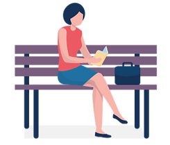 Illustration of a woman sitting on a park bench reading a book