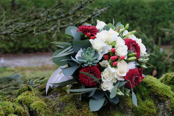 A lovely handtied bouquet of burgundy germini, white roses, succulents and beautiful eucalyptus and red berries.