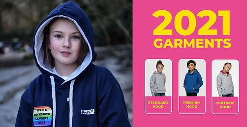 choice of leavers hoodie garments for 2021, standard, premium or contrast hood
