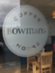 Bowmans Coffee House window decals