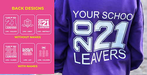 rear view of alternative styling for a leavers hoodie with options for rear designs