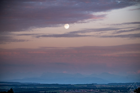 Moonrise over the Alps in September
