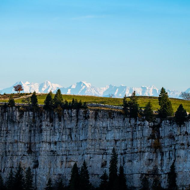 Creux du Van with Alps