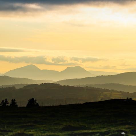 Sunset. Looking west from Soliat. La Dent de Vaulion, Le Suchet and Mont de Baulmes.