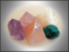 Five Crystals, Amethyst, Selonite,Malachite,Rose Quartz, Yellow Calcite
